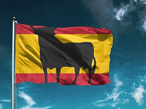 G1   Bandera España Toro   Medidas 150cm x 85 cm   Fácil colocación   Decoración Exteriores (1 Unidad)