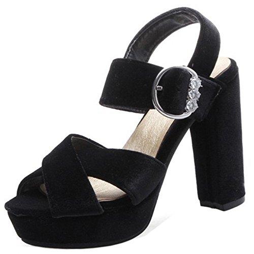 TAOFFEN Femmes Mode Peep Toe Sandales Bloc Talons Hauts Plateforme Soiree Ete Chaussures Noir