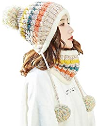 684cc3cad9375b Bobble Hat And Loop Scarf Set For Women Girls Warm Knitted Pom Hat Interior  Thick Fluff Winter Warm Ladies Bobble…