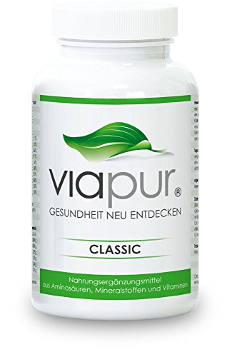 viapur® CLASSIC – Für Gesundheit und Vitalität in jedem Alter – täglich optimal versorgt mit 120 Kapseln for 1 Monat. 100% pure Aminosäuren, Mineralstoffe und Vitamine