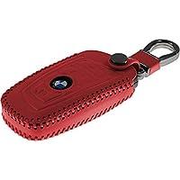 PhoneNatic Echtleder stitched Schlüssel Hülle für die BMW 3er E90 - 5er F10 - 7er F01 4-Tasten Fernbedienung in rot Funkschlüssel 4-Key