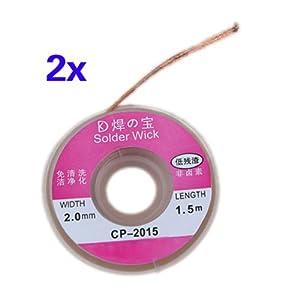 TOOGOO(R) 2pcs 2.0mm Solder Wick Remover desoldar trenza de alambre lechon