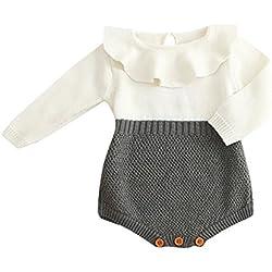 Ropa Newborn Baby Otoño Invierno, Zolimx Niños Niñas Bebé Punto Suéter Invierno Princesa Mameluco Ropa de Una Pieza de Monos Ropa de Bautizo