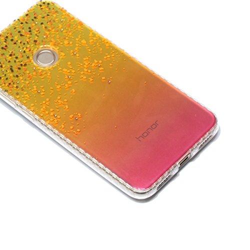 Cover Huawei P8 Lite 2017, Custodia Huawei P8 Lite 2017, Cozy Hut Premium Beautiful IMD Craft Gradient Color Design per Huawei P8 Lite 2017 Cover Custodia Silicone Transparente Pulire Stampa TPU Back  Sabbia dorata