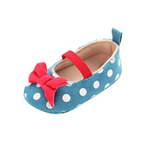 Auxma Baby Prewalker Schuhe,Baby Punkt Schmetterlings Gleitschutz weiche Kleinkind Schuhe Prinzessin Schuhe für 0-6 6-12 12-18 Monat (12-18 M, Blau) Blau
