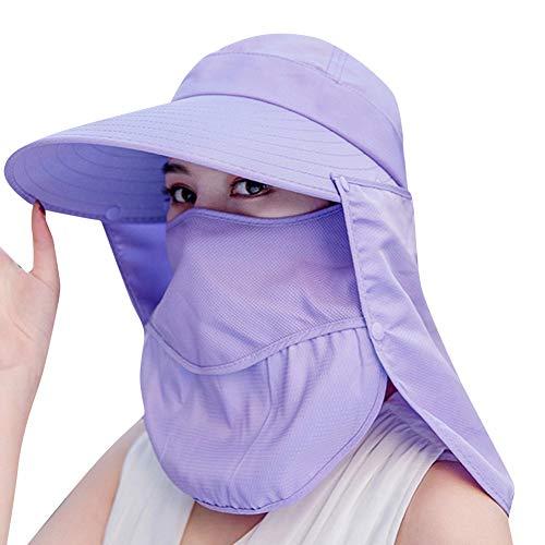DAKERTA Faltbarer Sonnenhut Sommerhut UPF 50 + Sonnenhut Shade Damen Breite Krempe UV-Schutz Sonnenblende Gesicht im Freien Reiten Strand Hut mit Maske