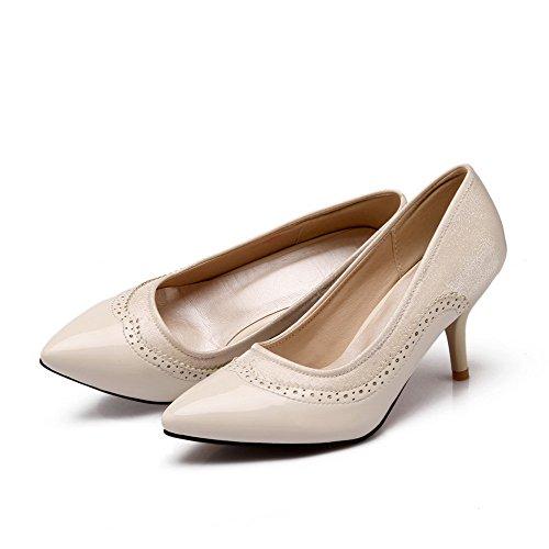 AgooLar Femme Tire Matière Souple Pointu Stylet Couleurs Mélangées Chaussures Légeres Beige