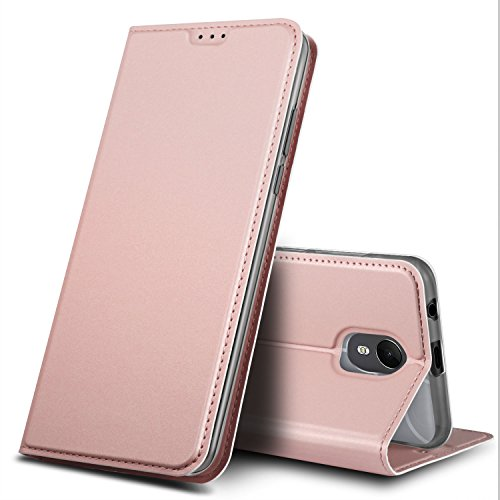GeeMai Wiko Jerry 3 Hülle, Premium Flip Case Tasche Cover Hüllen mit Magnetverschluss [Standfunktion] Schutzhülle Handyhülle für Wiko Jerry 3 Smartphone, Rosegold
