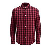 JACK & JONES Men's Jjegingham Shirt L/s Casual, Multicolour (Brick Red Checks:Mixed Black), Large