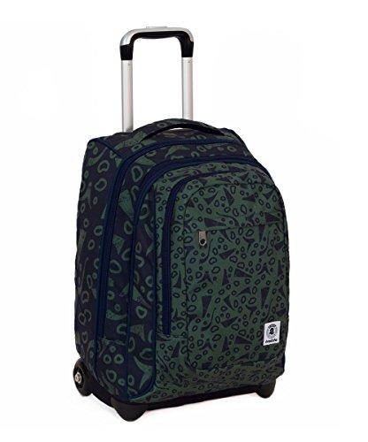 Trolley invicta - extra - bump - verde - blu - 45 lt spallacci a scomparsa! uso zaino scuola e viaggio
