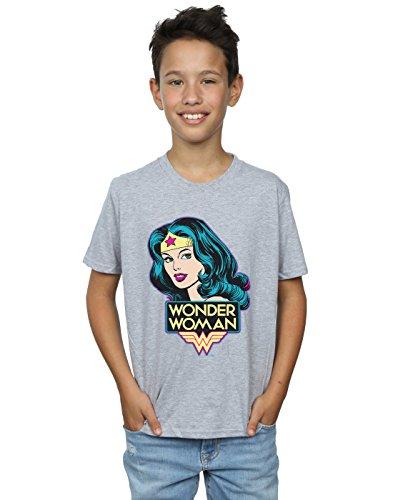 DC Comics Jungen Wonder Woman Head T-Shirt 9-11 Years Sport Grey
