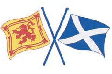 Scottish St. Andrews Saltire and Lion Rampant Crossed Flags Vinyl Car Sticker Decal