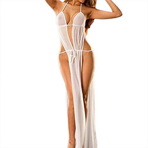 Lingerie Sexy Femmes Sexy Dentelle Longue Robe Babydoll Transparent Erotique Perspective Vêtements de Nuit Sous-Vêtements Pyjama + Slips Bandage Grande Taille ELECTRI Blanc