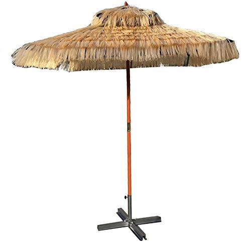 Kuwd ombrello tiki di paglia, ombrelloni, 1,8 m * 1,8 m, altezza 2,4 m, portaombrelli in legno massello, design quadrato, adatto per spiaggia, piscina, giardino, terrazza, centro commerciale all'ape