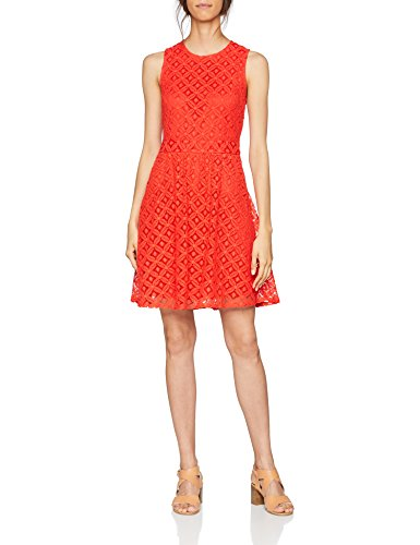 VERO MODA Damen Kleid Vmsimone Lace S/L Short Dress Noos, Rot (Poppy Red Poppy Red), 42 (Herstellergröße: XL) (Red-hat-mode)