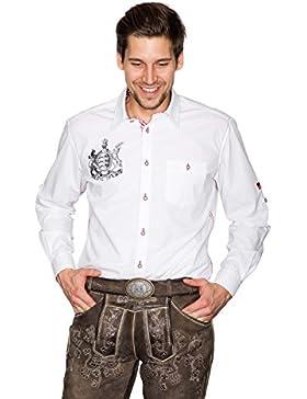 Krüger - Herren Trachtenhemd in weiß, Furchtlos und Treu (94112-1)