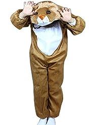 LaoZan Pijama Ropa de Dormir Disfraz de Animal Pequeño Leon Franela para Niños Niñas - Marrón - Altura(105 - 120CM)