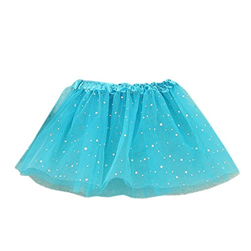 egenbogen Layered RockSterne Pailletten Party Tüll Tutu Kostüm Layered Dance Leistung Bowknot Chiffon Tanz Rock für Mädchen (2-7t, Blau) (Zwei Von Zwei Händen Des Blauen Kostüm)