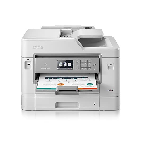 Brother Colour Inkjet Printer | Business Smart | Wireless, PC Connected, Network & NFC | Print, Copy, Scan, Fax & 2 Sided Printing | A4 with A3 print capability | 2 Paper Trays 41qib0vfXDL