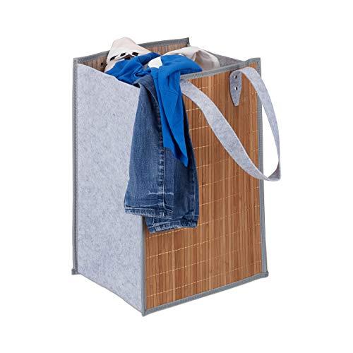 Relaxdays Cestos de ropa de bambú. Marrón y Gris 60 x 40 x 32 cm