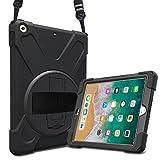 ProCase iPad 9.7 Hülle 2018/2017, 360 Grad Drehbar Kickstand Case Cover mit Verstellbarer Handriemen Schultergurt, 3 in 1 Schwerlast Stoßfest Schutzhülle für iPad 9.7 6th/5th Gen -Schwarz