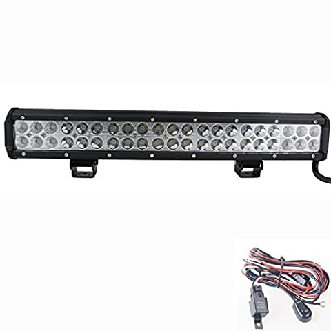 126w Work Lamp 20 INCH LED Light Bar Combo Beam+wiring Kit for Off-road Car Tractor Boat 4wd Truck 4x4 Trailer SUV ATV Driving - Combo Rimorchio