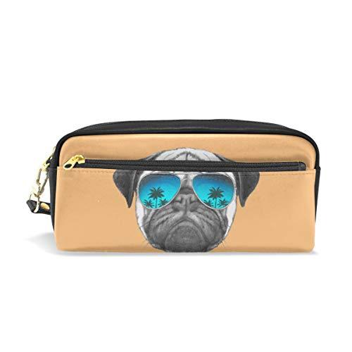 PU Leder Federmäppchen Stifteetui Hund Kopf Kosmetik Make-up Multifunktionstasche mit Reißverschluss Büro Schreibwaren für Kinder, Jugendliche, Jungen, Mädchen, Männer, Frauen