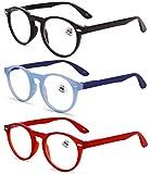 KOOSUFA Lesebrille Herren Damen Retro Runde Nerdbrille Lesehilfen Sehhilfe Federscharniere Vollrandbrille Anti Müdigkeit Brille mit Stärke 1.0 1.5 2.0 2.5 3.0 3.5 4.0 (Schwarz+blau+rot, 2.0)