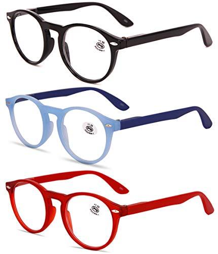 KOOSUFA Lesebrille Herren Damen Retro Runde Nerdbrille Lesehilfen Sehhilfe Federscharniere Vollrandbrille Anti Müdigkeit Brille mit Stärke 1.0 1.5 2.0 2.5 3.0 3.5 4.0 (Schwarz+blau+rot, 3.0)
