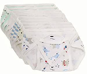 First Touch Baby Cotton Cloth Nappies Pack Of 10 (Multi Colour)