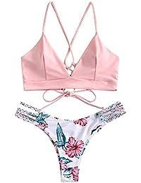 ZAFUL Damen Floral Leaf Lace Up Geflochtener Floral Bikini Set Zweiteiliger Badeanzug