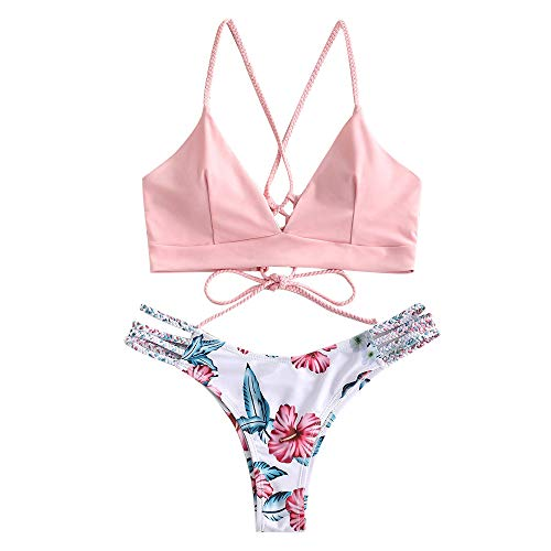 ZAFUL Damen Floral Leaf Lace Up Geflochtener Floral Bikini Set Zweiteiliger Badeanzug (M, ROSA) -