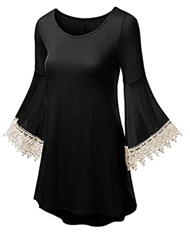 Bat Wing Slim Lace Polyester Bell 3/4 sleeves Crewneck JADE Long Tunic Top