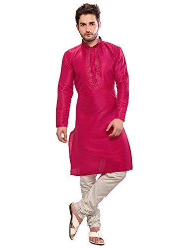 A.B.C. Garments Pink Silk Kurta and Pyjama Set for Men