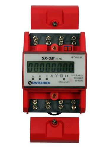 SWISSNOX Drehstromzähler mit Gesamt- und Momentanstromanzeige für DIN Hutschiene Wattmeter 3-Phasen Stromzähler S0-Schnittstelle