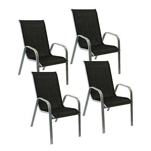 Happy Garden Lot de 4 chaises Marbella en textilène Noir - Aluminium Gris
