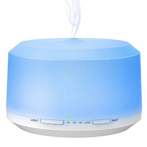 BAXiA Diffusore di Olio Essenziale,450 ml Diffusore di Aromi Ultrasuoni, con 8 luci Colorate e 4 impostazioni Timer, Auto spegnimento Senza Acqua e modalità nebulizzazione Regolab