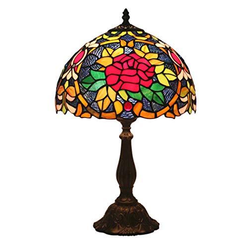 Chinesische Pfirsich (Tiffany-Stil Tischlampe, 12 Zoll Chinesische Pfirsich-Blampenglaslampenblampenlampe Nachttischlampe, Zink-Legierung Unterlage Basis, geeignet für Wohnzimmer, Schlafzimmer, Nachttisch, Power 40W)