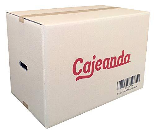 Pack de 10 Cajas de Cartón con Asas - Tamaño 550 x 350 x 370 mm - Canal Doble de Alta Calidad Reforzado y Resistentes - Fabricadas en España - Mudanza y Almacenaje - Cajeando