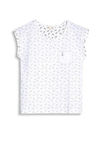 ESPRIT Damen T-Shirt 057ee1k039 Mehrfarbig (White 100)