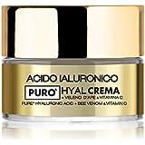 Crema viso HYAL con acido ialuronico puro a doppio peso molecolare, Veleno d'Ape e Vitamina C, idratazione intensa e immediat