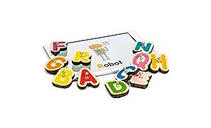 MARBOTIC - SMART LETTERS - Lernspiel zum Lesen lernen - 26 Interaktive Holzbuchstaben Für Tabletcomputer iPad oder Samsung - 4 kostenlose Lern-Apps für Kinder von 3-6 Jahren inklusive
