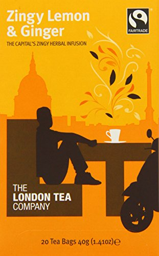 The London Tea Company 20 Enveloped Zingy Lemon and Ginger Infusion Bags 40 g (Pack of 6)