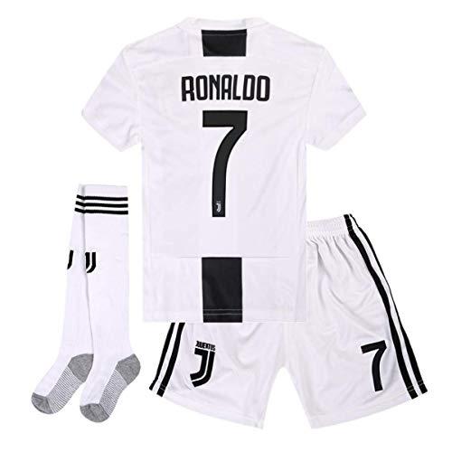Brosin Fußball-T-Shirt Sportanzug Trikot, Nr. 7 Juventus Ronaldo Fußball-Sportbekleidung, Jungen-T-Shirt Für Kinder (11-13 Years of age/28, Home 2019)