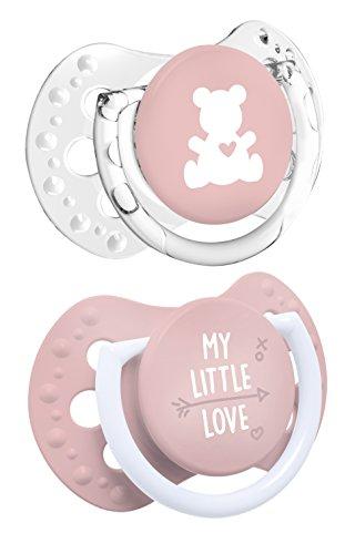 LOVI My Little Love - Pack de 2 mini chupetes dinámicos, talla 0-2 meses, color rosa