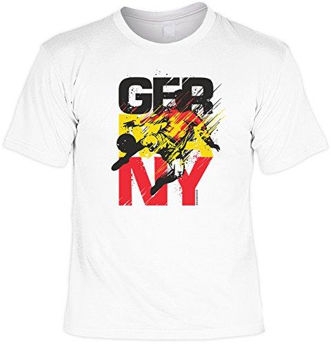 EM SET - T-Shirt mit Kappe: Germany - Deutschland - Fußballmotiv - Für alle Fußballfans Weiß