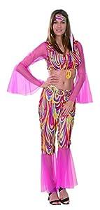Reír Y Confeti - Fibhip013 - Disfraz Para Adultos - Groovy Hippie Disfraz - Mujer - Talla M