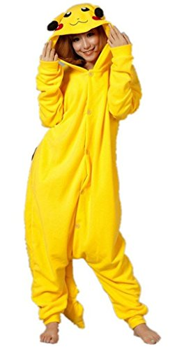 Extérieur Haut d'hiver chaude en flanelle pyjama une pièce unisexe pour adulte pyjama Pikachu moyen jaune (taille M)