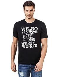 Desi Swag Round Neck NEW WORLD ONE PIECE Half Sleeve Mens Cotton T-Shirt