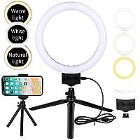 Flybiz 23cm Luce LED Anulare Esterno con treppiede e porta telefono, Mini lampada da tavolo a 360 ° LED con 3 modalità, luminosità per streaming, YouTube, selfie e trucco